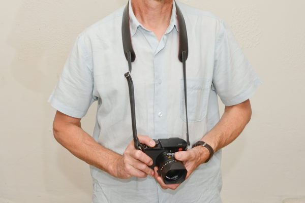 Camera neck strap in Black leather
