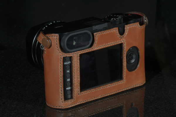 Leica Q camera case in rich brown leather made by Classic Cases